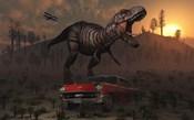 Dinosaur and Classic Car