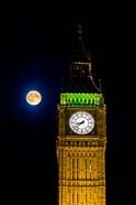 London, Big Ben Clock tower, the moon