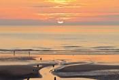 Sunset and beach, Blackpool, England