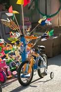 Bicycle Outside Toy Shop, Lesvos, Mytilini, Aegean Islands, Greece