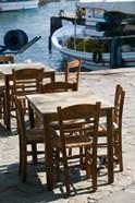 Waterfront Cafe Tables, Skala Sykaminia, Lesvos, Mithymna, Northeastern Aegean Islands, Greece