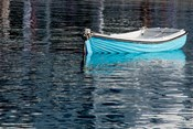 Greece, Cyclades, Mykonos, Hora Blue Fishing Boat with Reflection