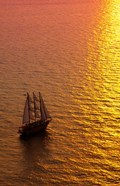 Big masked sailboat, Oia, Santorini, Greece