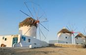 Mykonos, Greece Famous five windmills at sunrise