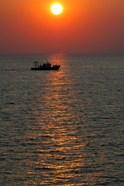 Greece, Crete, Aegean sunset, Fishing Boat