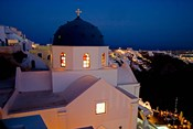 Evening Light on Church, Imerovigli, Santorini, Greece