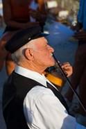 Older Gentleman Playing The Violin, Imerovigli, Santorini, Greece