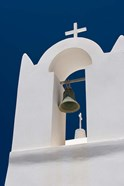 Church Bell Tower against Dark Blue Sky, Santorini, Greece