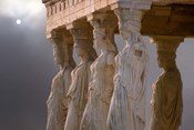 Greek Columns and Greek Carvings of Women, Temple of Zeus, Athens, Greece