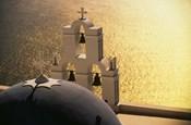 Seaside church tower with bell, Santorini, Greece