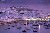 Overview of Mykonos Town harbor, Mykonos, Cyclades Islands, Greece