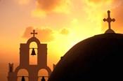 Kimisis Theotokov Church at Sunset, Thira, Santorini, Cyclades Islands, Greece