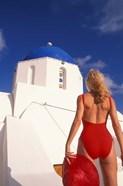 Woman in Swimsuit, Fira, Santorini, Greece
