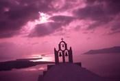 Church Steeple with Evening Rays, Santorini Island, Greece