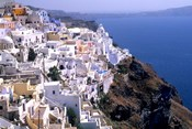 Mountains with Cliffside White Buildings in Santorini, Greece