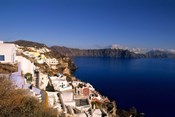 White Buildings on the Cliffs in Oia, Santorini, Greece