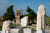 Greece, Corinth Doric Temple of Apollo Greece behind The Rostra