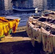 Greece, Mykonos Fishing Nets on Boats