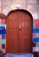 Old Brown Wooden Door, Rhodes, Dodecanese Islands, Greece