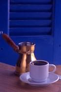 Greek Coffee and Copper Pot, Crete, Greece