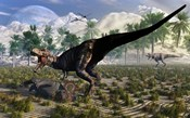 Tyrannosaurus Rex Guards its meal of a Juvenile Triceratops