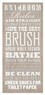 Bathroom Rules (White on Beige)