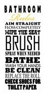 Bathroom Rules (Black on White)
