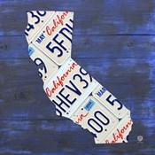 California License Plate Map - Blue
