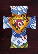 License Plate Art Heart Cross