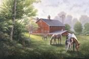 Country Road W/ Horses/Barn