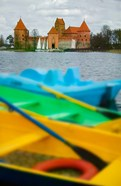 Colorful Boats and Island Castle by Lake Galve, Trakai, Lithuania