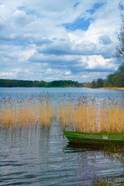 Colorful Canoe by Lake, Trakai, Lithuania II