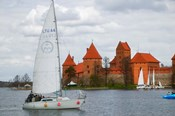 Sailboat with Island Castle by Lake Galve, Trakai, Lithuania