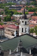 Royal Palace and Vilnius Cathedral, Gediminas Hill elevated view of Old Town, Vilnius, Lithuania