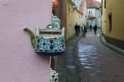 Wall Decorated with Teapot and Cobbled Street in the Old Town, Vilnius, Lithuania II