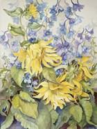 Sunflowers & Blue Delphinium