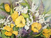 Yellow Tulips, White Iris And Heather