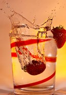 Strawberry Splash In Red Swirl Glass I