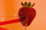 Strawberry On Red Swirl Glass