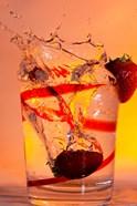 Strawberry Splash In Red Swirl Glass II