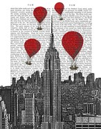 Empire State Building and Red Hot Air Balloons