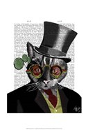 Steampunk Cat - Top Hat and red yellow glasses