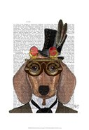 Dachshund with Top Hat and Goggles