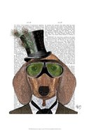 Dachshund Green Goggles Top Hat