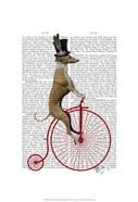 Greyhound on Red Penny Farthing Bike