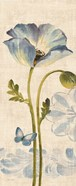 Watercolor Poppies Blue Panel I