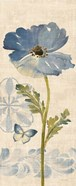 Watercolor Poppies Blue Panel II