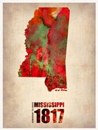 Mississippi Watercolor Map