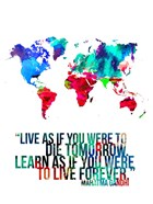 World Map Quote Mahatma Gandi