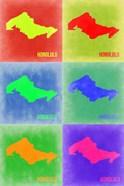 Honolulu  Pop Art Map 3